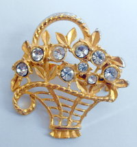 Gold tone floral basket brooch