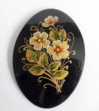 Black mourning brooch floral