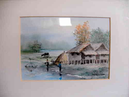 Watercolour Far Eastern scene