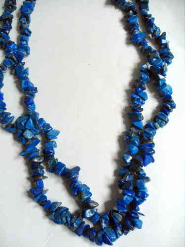 Rough cut blue stone necklace
