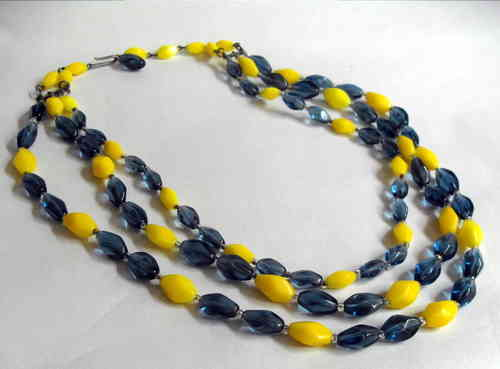 Blue yellow glass bead necklace