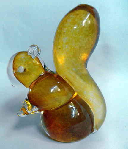 Amber glass squirrel deskweight