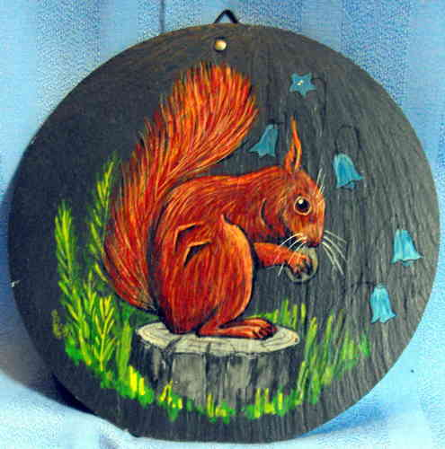 Hand painted squirrel plaque