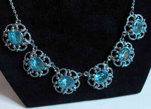 Blue paste silvertone necklace