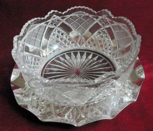 EPNS mounted cut glass dish