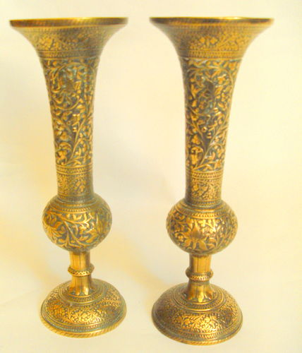 Anglo Indian brass candlesticks