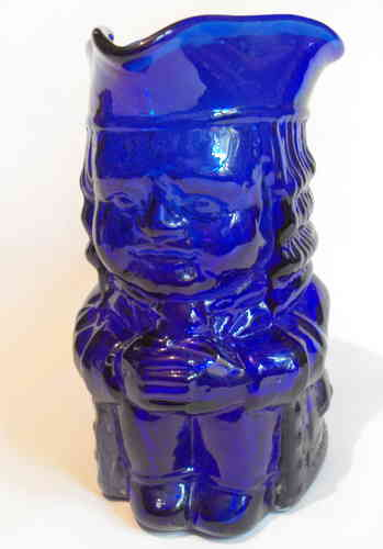 Antique Blue glass Toby jug
