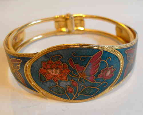 Blue enamelled hinged bangle
