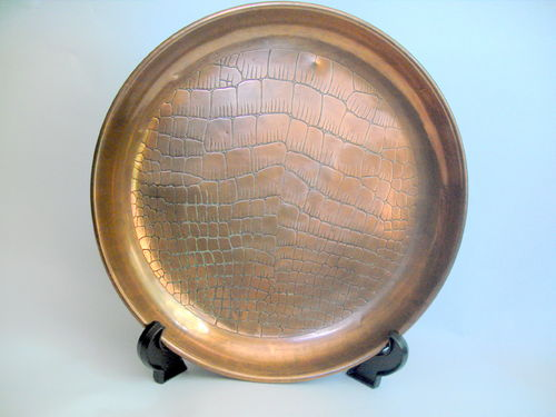 Copper croc design salver