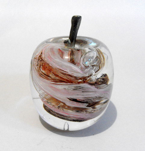 Apple shaped glass paperweight