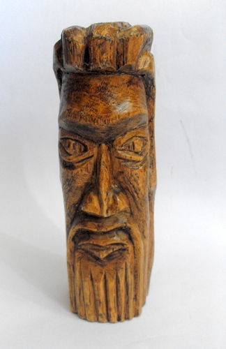 Carved light wood ethnic head