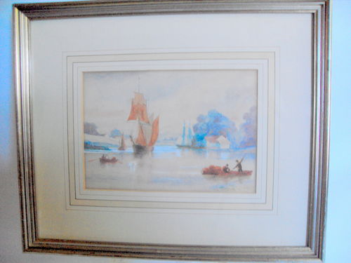 Watercolour of ships and water