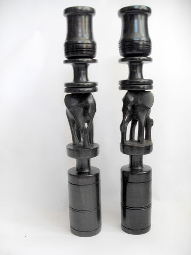 Carved elephant candlesticks