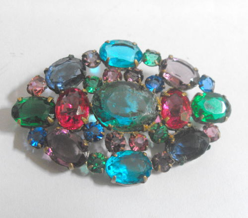 Multi coloured oval brooch