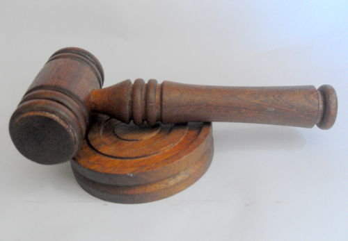 Wooden gavel and stand