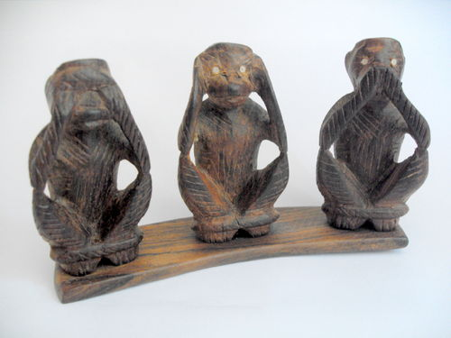 Wooden 3 wise monkeys