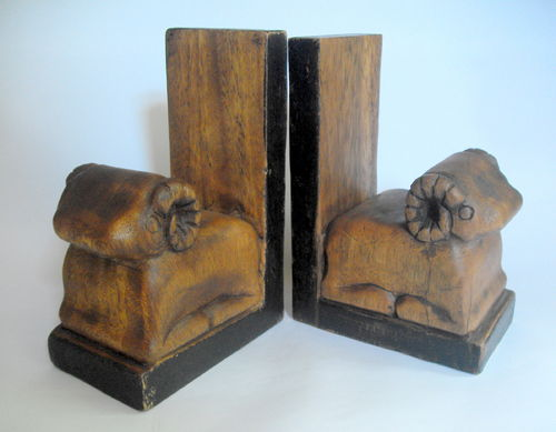 Carved ram book ends