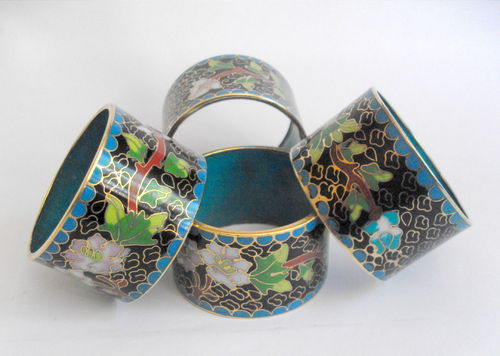 Four cloisonne napkin rings