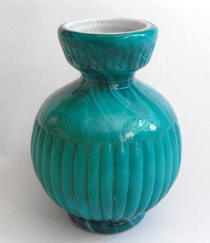 Greeny blue slag glass vase