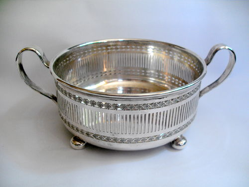 Pierced plated two handled bowl