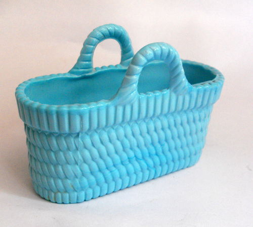 Blue pressed glass posy basket