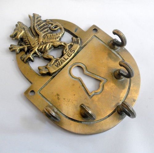 Welsh Dragon brass key holder