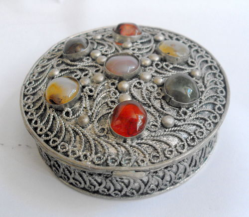 Indian silver inlaid box