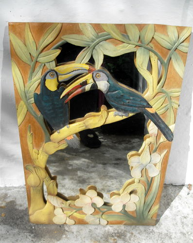 Carved wood toucan mirror
