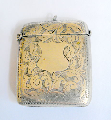 Antique white metal vesta