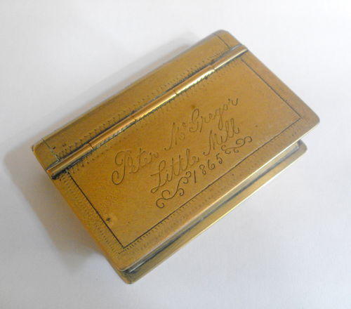 Book shaped 1865 snuff box