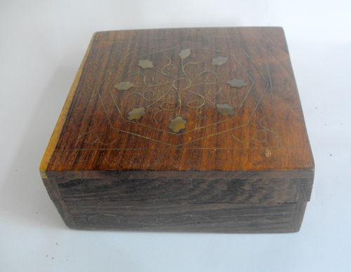 Wood and brass inlaid box