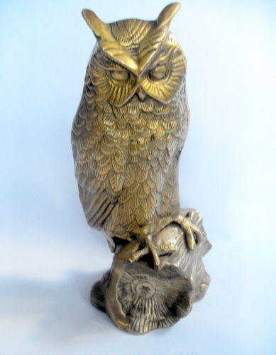 Large heavy brass owl