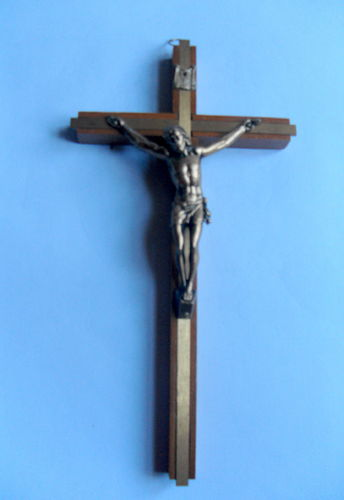 Wood and brass wall crucifix