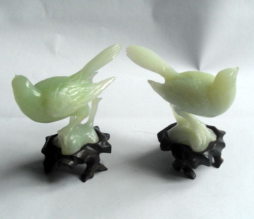 Pair jade / jadeite birds 2
