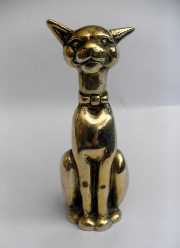 Brass cat candle holder