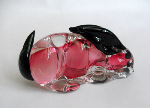 Glass pink rabbit deskweight