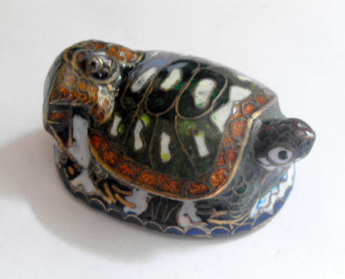 Enamelled terrapin and baby