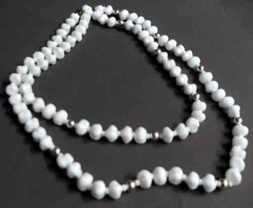 Long white glass necklace 36in