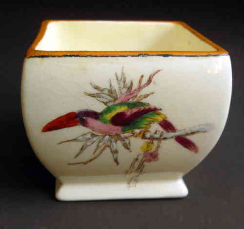 Antique pot w insect bird detl