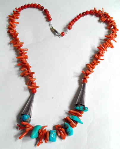 Coral + turquoise necklace