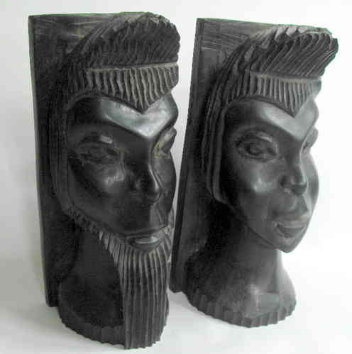 African carved figural bookends