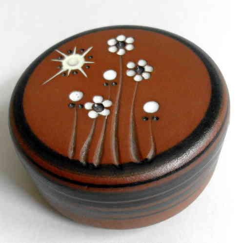 Brown pottery floral ring box
