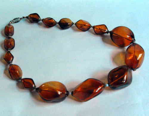 Amber glass bead necklace 2