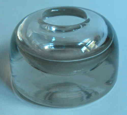 Heavy glass dome shaped inkwell