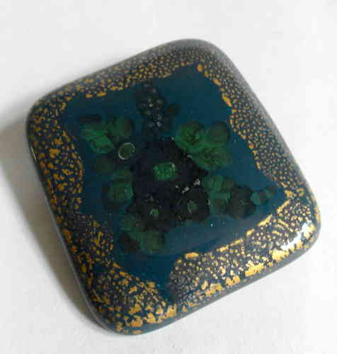 Ceramic blue green gilt brooch