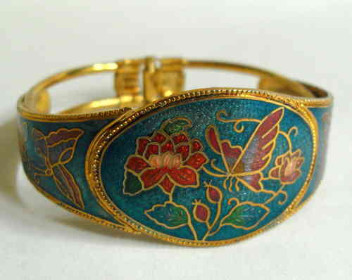 Goldtone blue enamel bangle