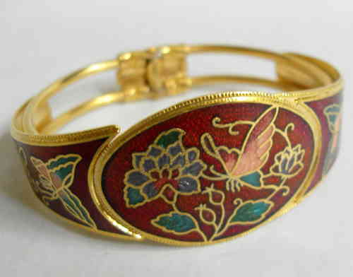 Gold tone red enamelled bangle