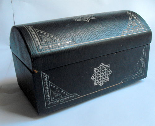 Leather trunk shaped casket