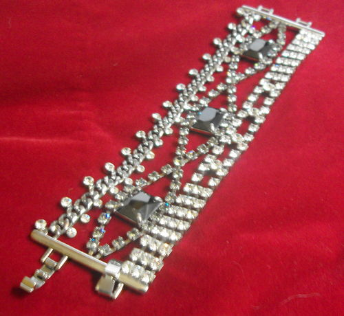 Wide diamante bracelet