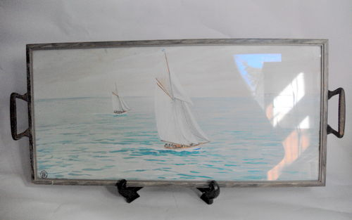 Tray with inset painting